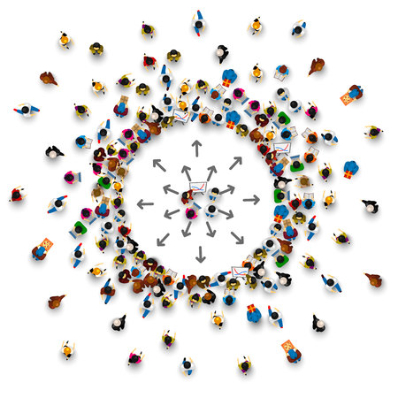 Veel mensen staan ??in een cirkel op een witte achtergrond. Vector illustratie