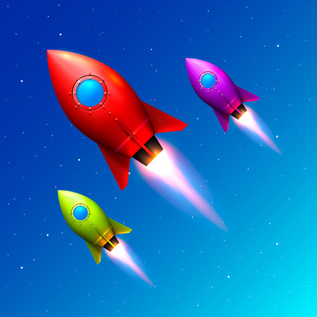 Space color rockets launch, Creative idea, Rocket blue background, Vector illustration