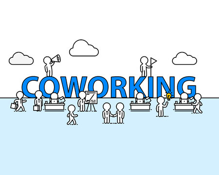 Coworking text work office with people. Vector illustration Illustration