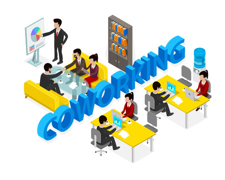 Co working office people business man object isometric