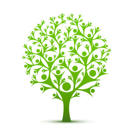 People tree sign color green on the white background. Vector illustration