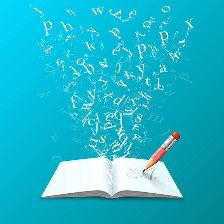 Book with flying letters art on the blue background. Vector illustration Stock Photo