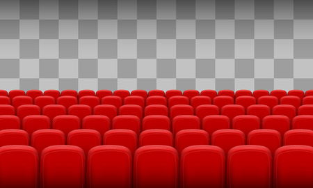 Red chairs of the cinema on a transparent background. Vector illustration Stock Photo