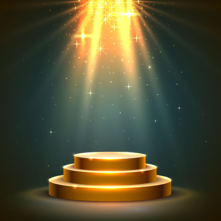 Stage podium with lighting, Stage Podium Scene with for Award Ceremony on dark  background, Vector illustration