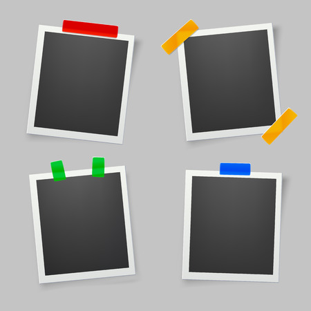 Collection of blank photo frames with adhesive tape. Çizim