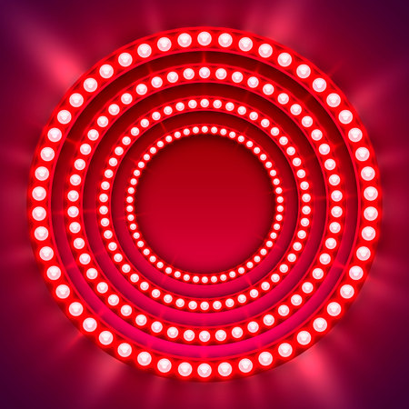 Show light circle red background. Vector illustration