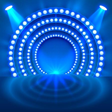 Show light podium blue background. Vector illustration Archivio Fotografico