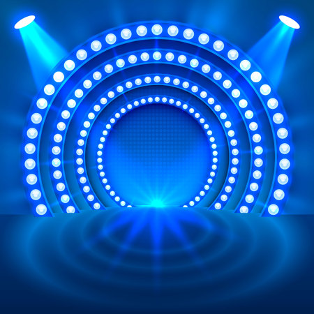 Show light podium blue background. Vector illustration Фото со стока