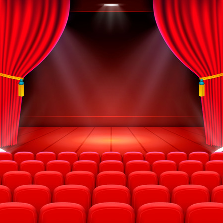 Scene cinema achtergrondkunst, Performance op het podium. Vector illustratie Stockfoto