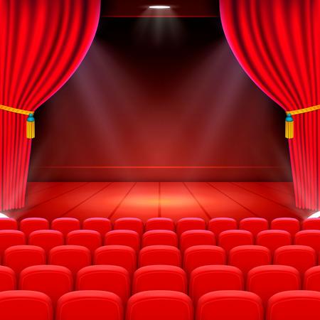 Scene cinema achtergrondkunst, Performance op het podium. Vector illustratie