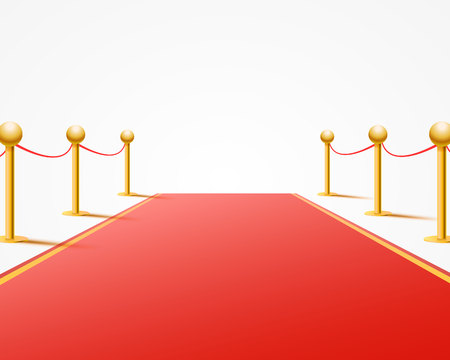 Red event carpet on the white background. Vector illustration Stock Photo