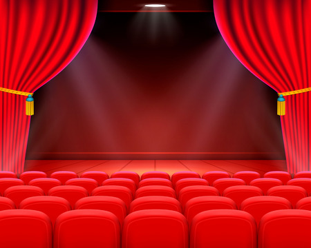 Scene cinema background art, Performance on stage . Vector illustration