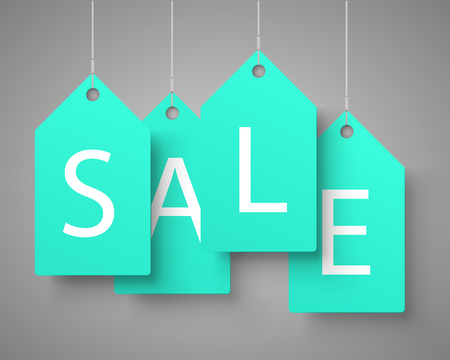 Four large blue tags with the word sale. Vector illustration