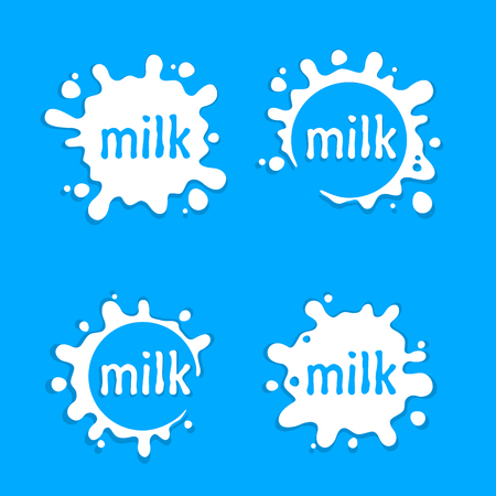 Milk labels blot sign, Milk set splashing, Vector illustration