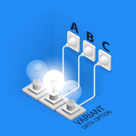 Lamp plugged in isometric art. Vector illustration