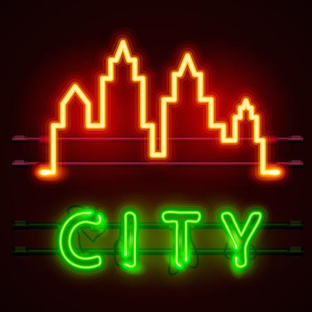 Neon city text banner, City shape. Vector illustration