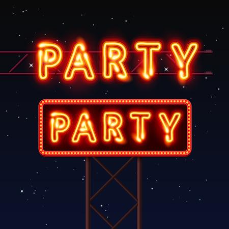 通りの看板に書いてあるパーティー。ベクトル図