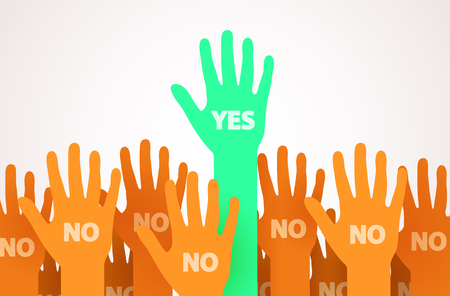Raised hands with one individuality or unique person saying Yes. One leader of the crowd. Voting or volunteer concept. Vector illustration.