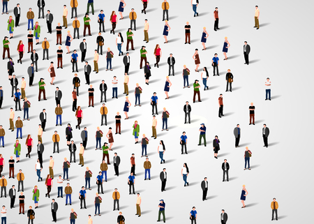 Large group of people on white background. Vector background Ilustrace