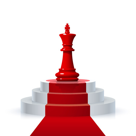Chess piece of the winner on the podium on the white background . Vector illustration Stock Photo