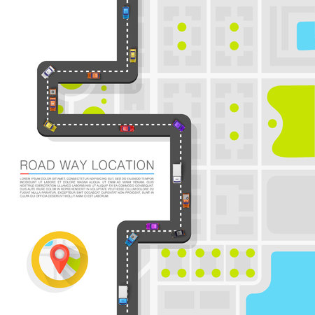 Paved path on the road art. Vector background Stock Photo