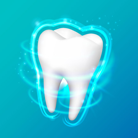 Tooth on a black background, template design element, Vector illustration