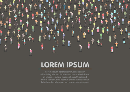 Large group of Isometric people.