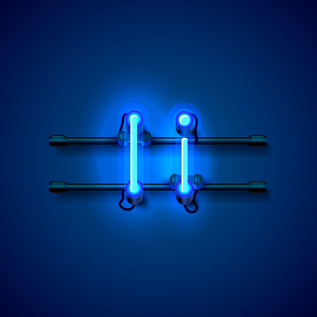 Neon font letter i, art design singboard. Vector illustration