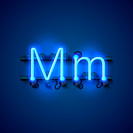 Neon font letter m, art design singboard. Vector illustration Stock Photo