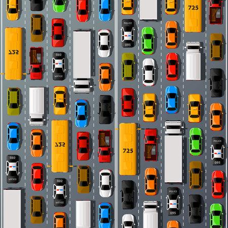 custom car: Road cars transport, traffic jam background. Vector illustration