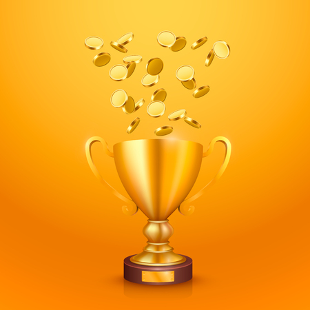 The winner cup with flying gold coins. Vector illustration