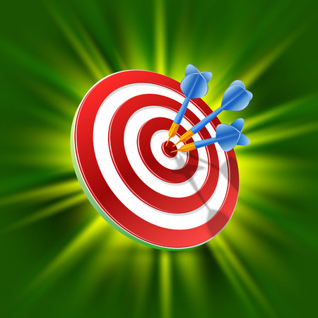 Target with darts 3d art on the green background. Vector illustration Stock Photo