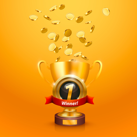 Winners cup number one with a win . Vector illustration
