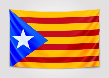Hanging flag of Catalonia. Catalonia referendum. National flag concept.