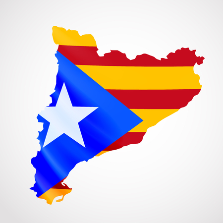 barcelona: Hanging Catalonia flag in form of map. Catalonia referendum. National flag concept.