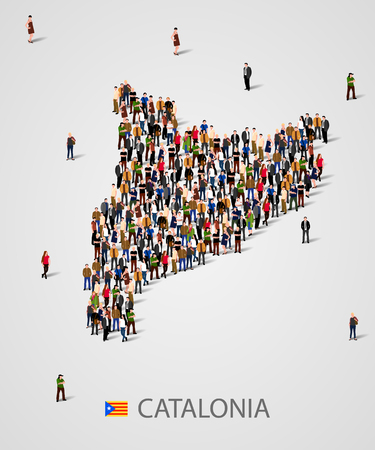 Large group of people in form of Catalonia map. Population of catalonia or demographics template. Referendum concept.