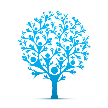 People tree sign color blue on the white background. Vector illustration Zdjęcie Seryjne