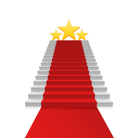 hollywood star: Podium star with red carpet, Red stairs background, Vector illustration