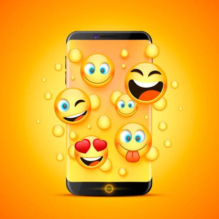 Iconos para emoji del teléfono sobre un fondo naranja.