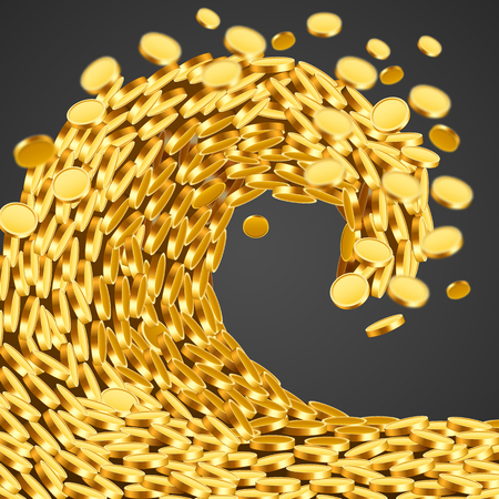 The wave of money. Huge tsunami wave of gold coins. Success and good profits concept.