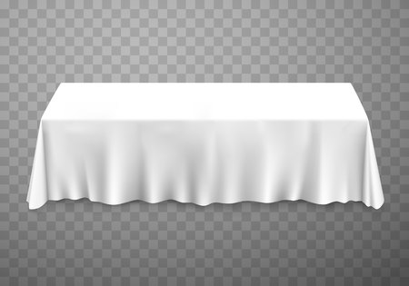 Table with tablecloth white on a transparent background. Vector illustration