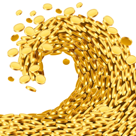 Huge tsunami wave of gold coins Illustration