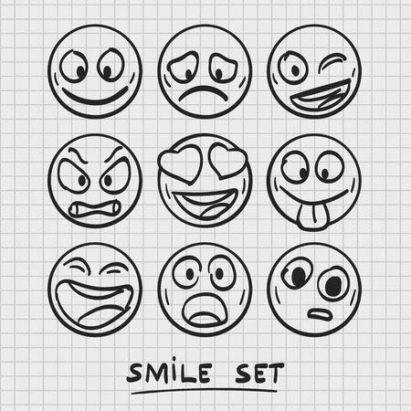 set of cartoon emoji. Sketch emoji. Emoji set. Vector illustration
