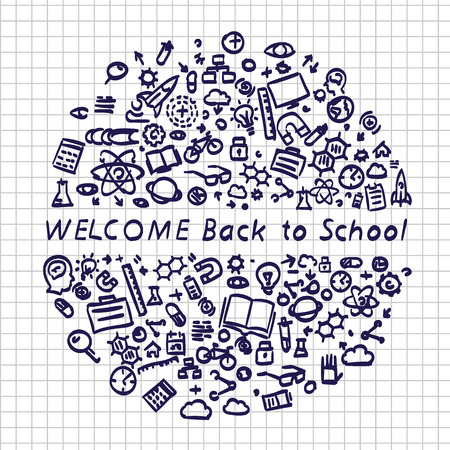 Back to school banner signboard on the paper background. Vector illustration