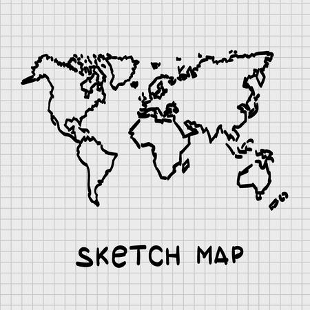 Sketch of hand drawn World map, template design element, Vector illustration