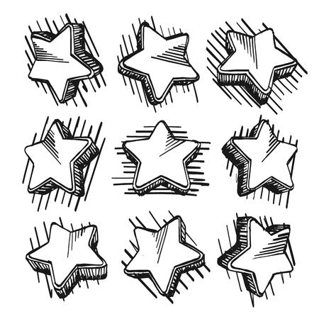 Sketch of hand drawn star set, template design element, Vector illustration