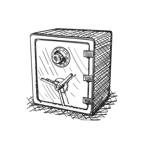 Sketch of hand drawn Safe 3d icon, Realistic object on a white background, Vector illustration
