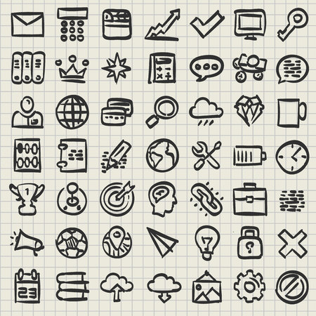 Sketch of technology icon set. Sketch icons set. Vector illustration