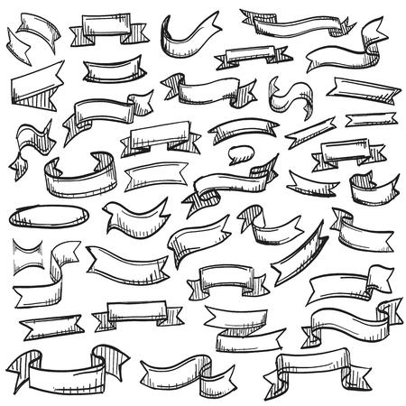 Sketch of hand drawn ribbon set, template design element, Vector illustration Illustration