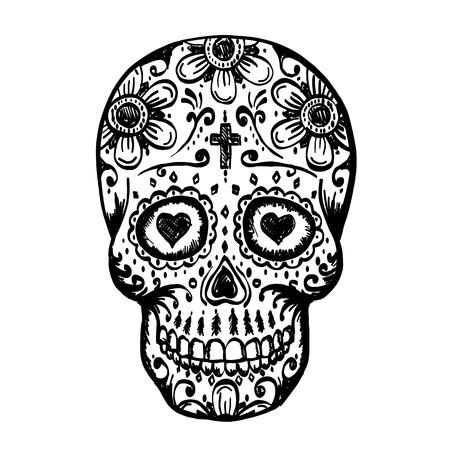 Day Of The Dead Skull sketch. Draw skull sugar flower. Skull tattoo. Vector illustration